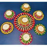 DECORATIVE BUCKETS Handmade Tea Light Holders Set of 7 Rangoli Candle Holders Diwali Decorations onam pongal Rangoli Floor De