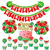 63 pcs Watermelon Birthday Party Decorations Set,Watermelon Happy Birthday Banner Cake Cupcake Toppers Wrappers Balloons for