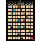 Me Time Joy 100 Movies Scratch Off Poster- Bucket List Poster- Quality Easy Off Gold Foil with Scratching Tool - Cool Posters