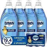 Dawn Dish Soap Ultra Dishwashing Liquid + Non-Scratch Sponges for Dishes, Original Scent, Includes 4x19oz + 2 Sponges (Packag