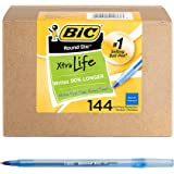BIC Round Stic Xtra Life Ballpoint Pen, Medium Point (1.0mm), Blue, 144-Count