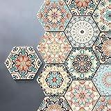 10Pcs Moroccan Hexagon Pink Non-Slip Floor Sticker Boho Removable PVC Wall Paper for Kitchen Bathroom DIY Living Room Waterpr