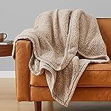 Amazonベーシック 毛布 ブランケット あたたかい ベージュ ウォームフリース シングルサイズ