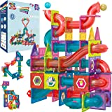 Magnetic Marble Run Building Set - 191 Piece - 3D Magnetic Tiles Ball Track -Building Kit Fun and Educational Toy STEAM Learn