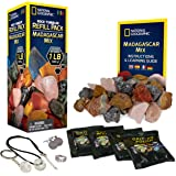 NATIONAL GEOGRAPHIC Rock Tumbler Refill – 1 Lb Mix of Rocks From Madagascar for Rock Polishers, 5 Jewelry Fastenings & Rock P