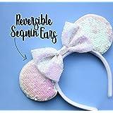 CLGIFT Bride Minnie Ears Headband,bride ears, bride mickey ears,AB white minnie ears, bachelorette party ears, Rainbow Sparkl