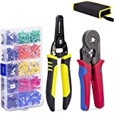 KOTTO Ferrule Wire Terminal Block Crimping Tool Plier Tool Kit Set with 860 Ferrules, Wire cutter, Storage Bag, UL Color AWG