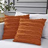 Longhui bedding Burnt Orange Throw Pillow Covers for Couch Sofa Bed, Cotton Linen Decorative Pillows Cushion Covers, 18 x 18