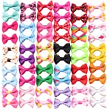 YAKA 60PCS/30Pairs Cute Puppy Dog Small Bowknot Hair Bows with Clips Hair Handmade Accessories Bow Pet Grooming Products (60