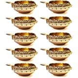 100% Pure Virgin Brass Diwali Diya (Set of 10) Indian Pooja Oil Lamp - Golden Engraved Design Dia - 2.5 Inch. Deepawali Diya/