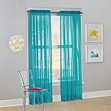 """No. 918 Calypso Sheer Voile Rod Pocket Curtain Panel, 59"""" x 84"""", Sky Blue"""