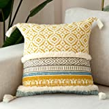 """Cushion Cover for Chair Decor Throw Pillow Covers for Couch Bed Supersoft Handmade Decorative Pillowcase, 18""""x18""""(45cm), Yell"""