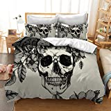 Mrbaby Death Moth Skull Bedding Sets 3pc Duvet Cover Sets Queen Size, Microfiber, White, Queen