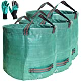 Standard 3-Pack 16 Gallons Garden Bag with Coated Gardening Gloves,Large Stand Bags Gardening Bag - Comparative-Winner 2018 -