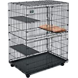 Midwest Cat Playpen/Cat Cage Includes 3 Adjustable Resting Platforms, Removable Leak-Proof Pan, Easy 2-Door Top/Bottom Access