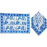 Rastogi Handicrafts Hand Block 100% Cotton Indian Style Theme Dining Table Mats and Napkins Set of 6 Place-mats Runners (Blue