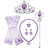 Finrezio Sofia Princess Cosplay Set Girls Costume Party Favor Jewelry Set Gloves Crown Wand Necklace Earrings Ring Kids