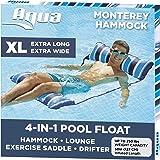 Aqua LEISURE 4-in-1 Monterey Hammock XL (Longer/Wider) Inflatable Pool Chair, Adult Pool Float (Saddle, Lounge Chair, Hammock