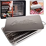 """Indoor - Outdoor Stovetop Smoker w Wood Chips and Recipes - 11"""" x 7"""" x 3.5"""" Stainless Steel Smoker - Works On Any Heat Source"""