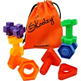 Jumbo Nuts and Bolts Set with Tote 12 Pc by Skoolzy - Occupational Therapy - Matching Fine Motor Toy for Toddlers Preschooler