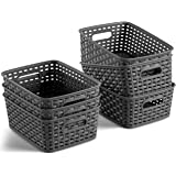 Set of 6 Plastic Storage Baskets - Small Pantry Organizer Basket Bins - Household Organizers with Cutout Handles for Kitchen