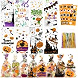 Halloween Candy Bags Treats Bags, 200 PCS Halloween Cellophane Bags for Kids Treat or Trick Party Supplies, 8 Styles Hallowee