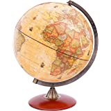 EXERZ 30cm Antique Globe with A Wood Base - World Globe Rotating Vintage Decorative 30cm Diametre