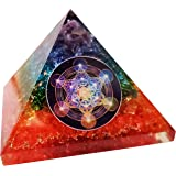 7 Chakra Orgone Pyramid Natural Quartz Positive Energy Generator Orgonite Crystal, Reiki Healing, Meditation, Yoga, Spiritual