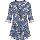 Nandashe Women's 3/4 Sleeve Floral Shirt Zip up V Neck Casual Tunic Work Blouses