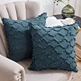 Longhui bedding Grey Blue Throw Pillow Covers for Sofa, Couch, Bedroom, Family Room – Set of 2 Decorative Pillows 18 x 18 Inc
