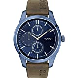 HUGO by Hugo Boss Men's Stainless Steel Quartz Watch with Leather Strap, Brown, 22 (Model: 1530083)