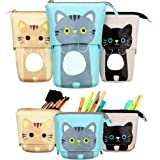 3 Pieces Transformer Stand Store Pencil Holder Canvas PU Cartoon Cute Cat Telescopic Pencil Organizer Cosmetics Pouch Makeup
