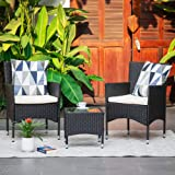 M&W 3 Pieces Patio Furniture Set, Outdoor Chairs and Coffee Table, PE Rattan Wicker Bistro Table Set for Balcony, Lawn, Garde
