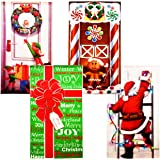 4 Pack Christmas Door Covers Decoration Front Door Party Home Decorations for Front Door Bathroom Toilet Backdrop Holiday Cov