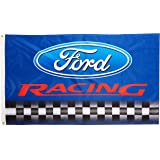 Ford RACING Flag, 3'x5' Blue w/Black & White Checkerboard Banner