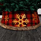 Juegoal Red Christmas Tree Collar, 30 Inch Buffalo Plaid Christmas Tree Ring with Plastic and Cloth, Easy Set Up Tree Skirt T
