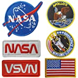 Lightbird NASA Patches 6 Pieces,Embroidered Iron On/Sew On Space Patches,US Flag Patch (Iron on/Heat Transfer Backing)