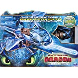 DreamWorks Dragons Giant Fire Breathing Toothless, 20-inch Dragon with Fire Breathing Effects and Bioluminescent Colour, for
