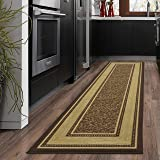 "Ottomanson Ottohome Collection Contemporary Bordered Design Non-Skid (Non-Slip) Rubber Backing Modern Runner Rug, 1'10"" X 7'0"