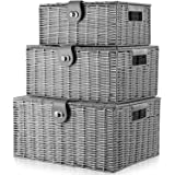 Homepeaz Set of 3 Woven Storage Basket Bin Wicker Hamper Stackable Box with Lid & Lock, Container Tote Cube Organizer for Nur