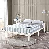 Zinus Moiz White Timber Double Bed Frame | Wood Platform Mattress Foundation