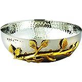 Elegance Golden Vine Hammered Stainless Steel Salad Bowl, 6.5-Inch, Silver/Gold