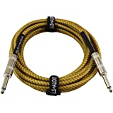 GLS Audio 15 Foot Guitar Instrument Cable - 1/4 Inch TS to 1/4 Inch TS 15-FT Brown Yellow Tweed Cloth Jacket - 15 Feet Pro Co