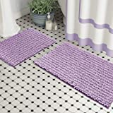 Zebrux Non Slip Thick Shaggy Chenille Bathroom Rugs, Bath Mats for Bathroom Extra Soft and Absorbent - Striped Bath Rugs Set