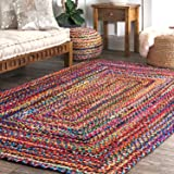Hand Braided Chindi Rag Rug - Cotton Rectangle Bohemian Colorful Area Rug - Recycled Braided Chindi Rugs- Biodegradable - 2x3