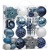 Valery Madelyn 70ct Winter Wishes Shatterproof Christmas Ball Ornaments Decoration Blue Silver, Themed with Tree Skirt(Not In