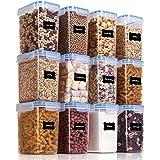 Vtopmart Flour Storage Containers 12 Pieces Set--1.5qt Transparent