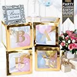 Baby Shower Decorations & Gender Reveal Party Supplies - 52 Piece Premium Gold Baby Balloon Letter Blocks for Girl & for Boy