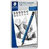 Staedtler 100 G12 Mars Lumograph Pencils Medium Grades 6B-4H - Tin of 12