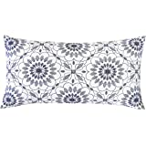 SLOW COW Embroidery Decorative Lumbar Throw Pillow Cover for Couch Sofa Bedroom Geometric Flower Pattern Cushion Cover 12 x 2